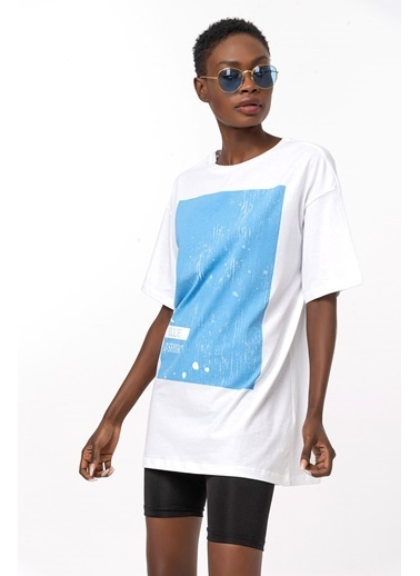 Coral Baskılı Basic T-Shirt Mavi Mavi